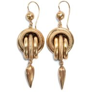 Victorian um 1890: Antike Knoten Ohrringe aus 375 Gold / Lovers Knot Earrings