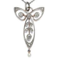 Jugendstil um 1900: Antikes Collier aus Gold, Platin & Diamanten, Anhänger Kette