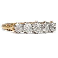 England um 1940: Antiker Ring mit Diamanten in Gold & Palladium, Verlobungsring