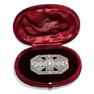 Art Déco um 1925: Brosche & Anhänger, 1,15 ct Diamanten, 750 Weiß Gold & Platin