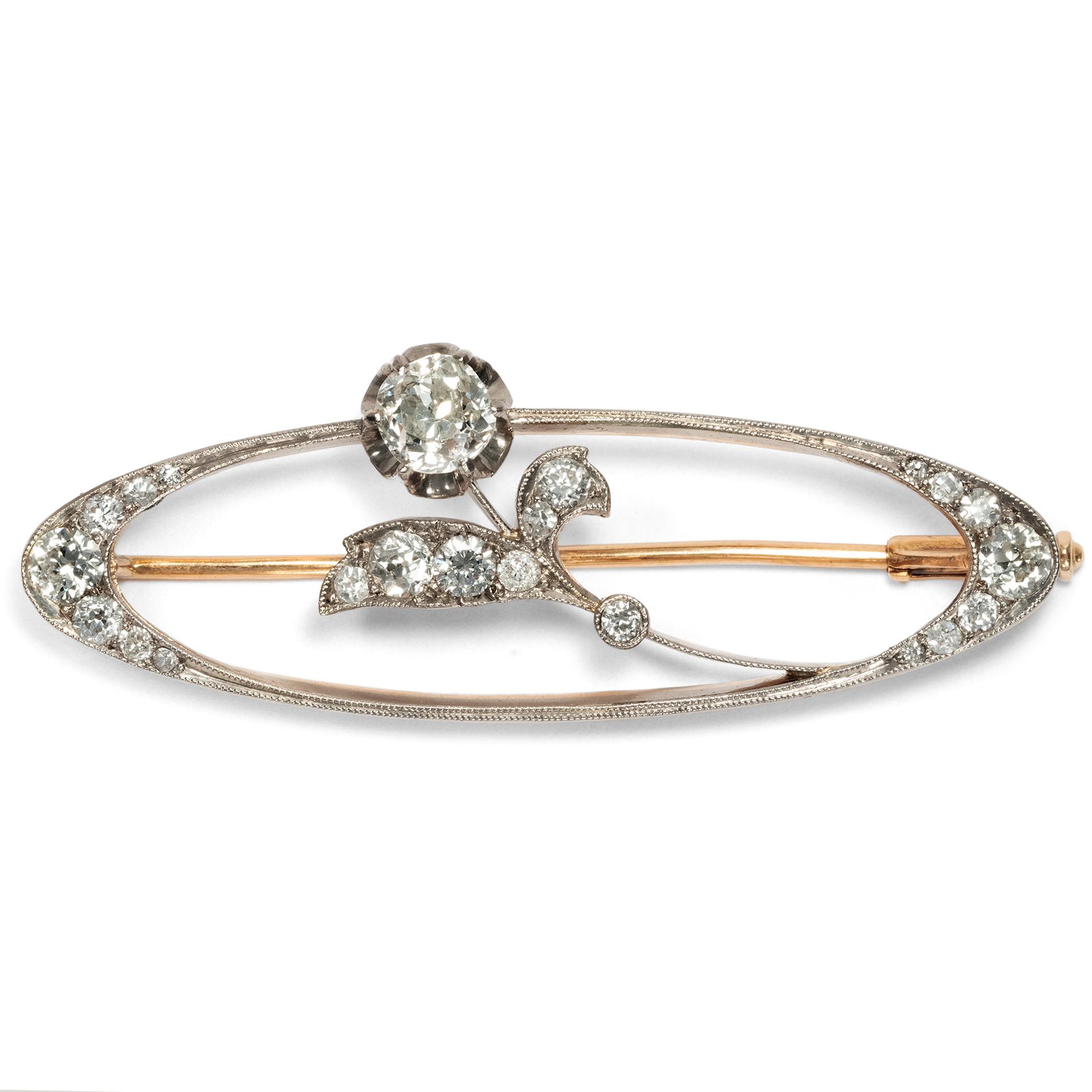 Uhren & Schmuck Diamantbrosche Brosche Brillantbrosche 14kt 585 Gold Mit Diamant Brillanten . Broschen & Nadeln