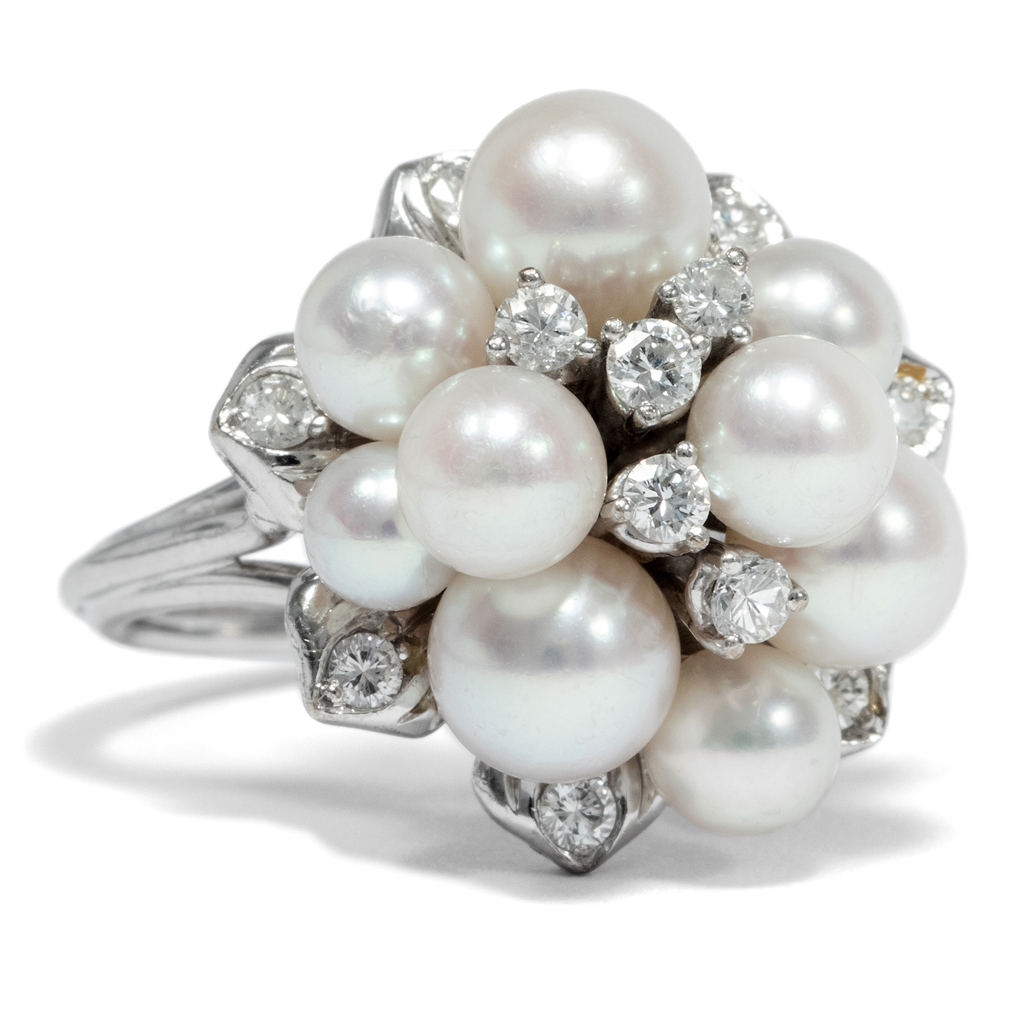 Diamonds And Pearls Wundervoller Cluster Ring Mit Perlen