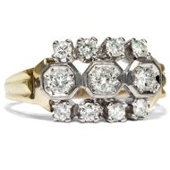 Kostbarer vintage Ring, 0,70 ct Brillanten in 585 Gold & Platin, um 1955 Diamant
