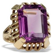 Um 1960: Vintage RING mit großem Amethyst in 585 Gold  / Cocktailring Rockabilly