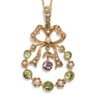 Antiker Suffragetten ANHÄNGER mit Peridot, Amethyst & Perlen in Gold, mit Kette