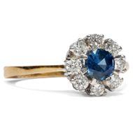 Vintage Saphir & Brillant Ring aus 750er Gold, Saphir & Diamanten Verlobungsring