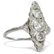 Um 1930: Art Déco DIAMANT RING, Altschiff Diamanten in Platin Verlobungsring
