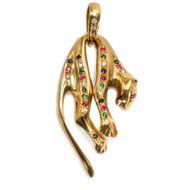 Um 1985: Vintage Katzen Anhänger 750 Gold Rubin Smaragd Saphir Diamanten Panther