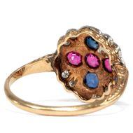 Liebe, Treue, Ewigkeit - Romantischer Gold-Ring mit Saphiren, Rubinen & Diamanten, um 1900. Photo © 2019 Hofer Antikschmuck Berlin