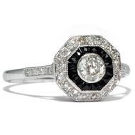 Art Déco Revival um 2000: Weißgold & Onyx & Diamant Ring / Diamanten Brillant