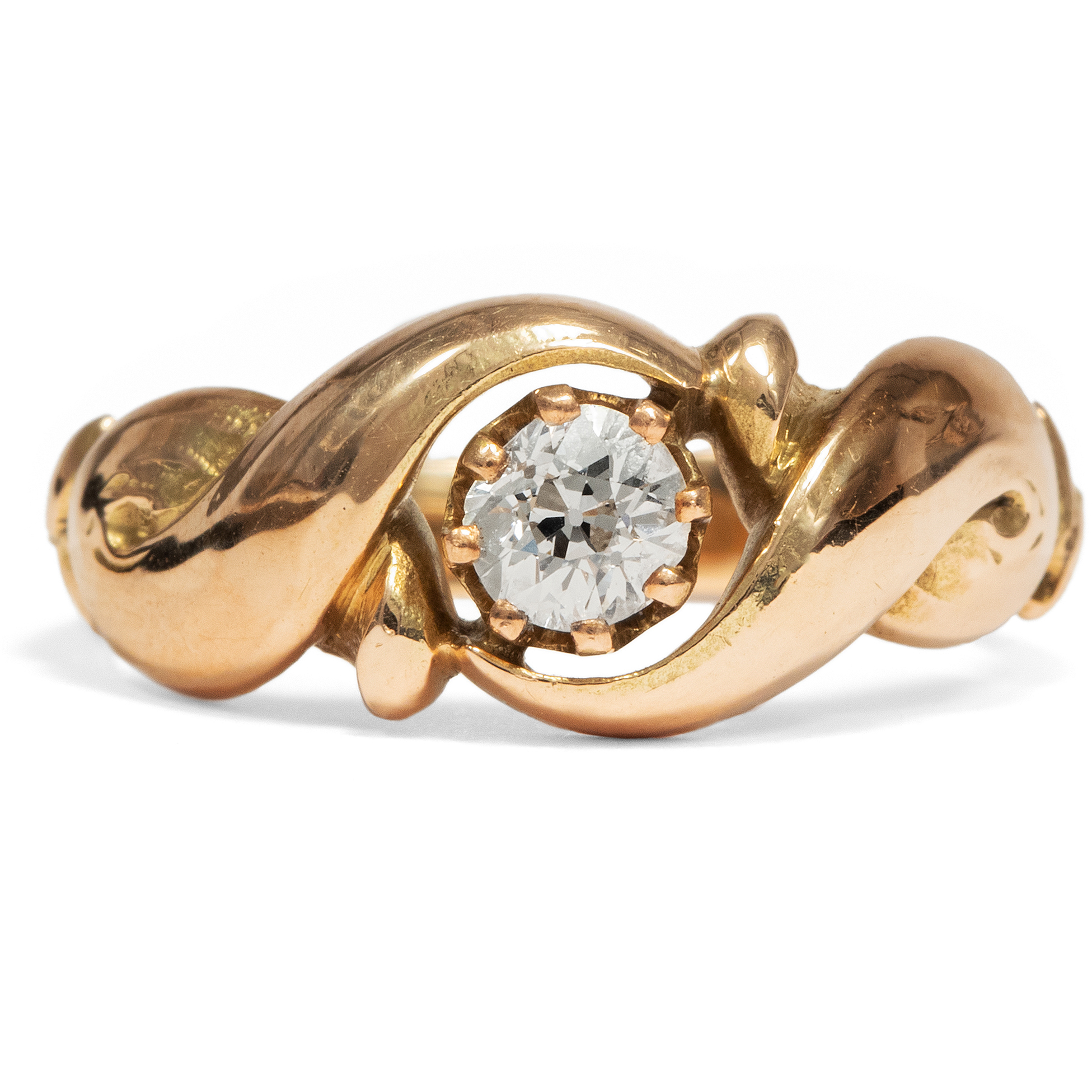 Old steel nail ring with gold capped head and solitaire diamond